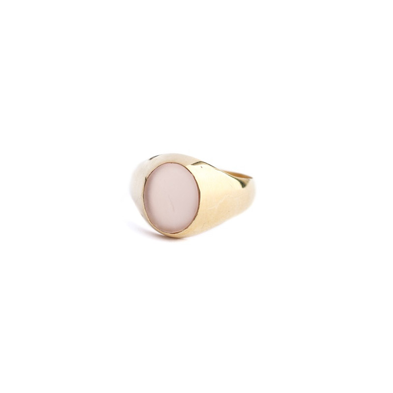 L- ring size 52 signet 8x10 peach moonstone gold plated
